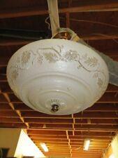 Antique Ceiling Light Fixture Cream Glass Art Deco Round Hanging