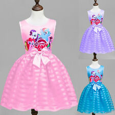 Girls My Little Pony Dress Kids Princess Childrens Summer Party Bow Costume