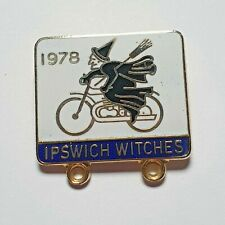 More details for ipswich witches speedway enamel pin badge - witch riding motorcycle  - 1978 rare