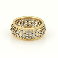 Cartier 18k Yellow Gold & Steel Basket Weave Dome Band Ring Size 54 US 7
