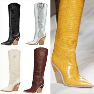 Women Pointed Toe Western Embossed Microfiber Block High Heel Cowboy Biker Shoes