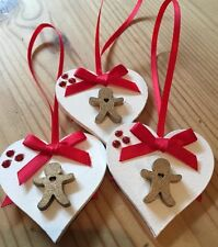 3 X Handmade Christmas Decorations Shabby Chic Wood Heart Gingerbread Men Red