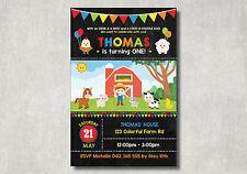 Farm Animals First Birthday Invitation Party Supplies Barnyard Invite Cute Card