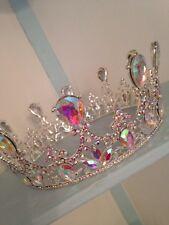 Full Large Silver Crown . King /queen Crown . 6  Diameter . Ab Crystal