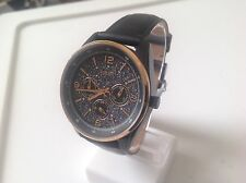 Fossil Ladies Black/ Rosegold Chrono Glitz Dial Black Leather Band Watch BQ3166