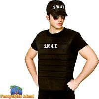 Adults SWAT Printed T Shirt Hat Military Fancy Dress Costume