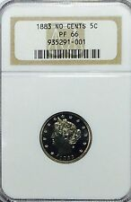 1883 Liberty V Nickel N/C - NGC PF66 - Beautiful GEM Proof Coin - Cameo Look