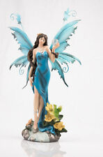 Fairy Gazing Into Crystal Ball Blue Legends of Avalon Figurine with Metal Wings