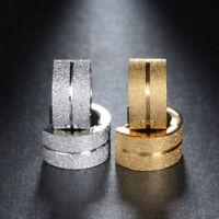 Women Men Crystal 316L Stainless Steel Ear Stud Hoop Huggie Earrings Silver Gold