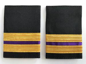 2 Bar Merchant Marine Engineer Epaulette, Gold Stripe Epaulettes