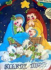"Christmas Wall Hanging Kit 12""x17"" ""Silent Night"" Cute Nativity No. 5102 sheep"