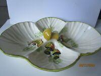Vintage Mid-Modern Ceramic Mushroom Divided Vegetable Dish 15 X12 inches