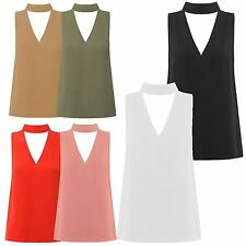 New Womens Plus Size Sleeveless Choker Polo V-Neck Collar Blouse Shirt Top 8-22