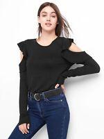GAP Softspun flutter cold shoulder top True Black Size XS Item #920596 J
