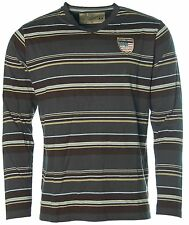 K1429 KITARO Herren V-Langarm-Ringel-Shirt Mehrfarbig M