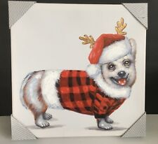 """Welsh Corgi Dog Canvas Wall Decor Picture 16""""x16� Christmas Holiday Textured New"""