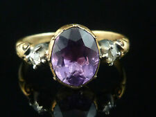 ANTIQUE GEORGIAN OLD CUT DIAMOND TRILOGY RING 18CT GOLD SILVER 4CT AMETHYST