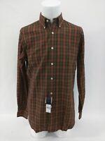 RALPH LAUREN Mens Small Classic Fit Button Green Brown Plaid Shirt NWT $89.50