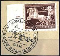 THIRD REICH Mi. #747 Braunes Band Horse Race stamp w/ cancel! CV $42.00