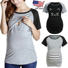 Women Pregnancy Short Sleeve T Shirt Splice Top Cartoon Blouse Maternity Clothes