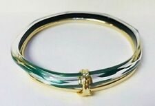 ALEXIS BITTAR Liquid Metal Paired Green Lucite Bangle Bracelet