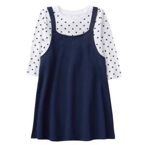 NWT Gymboree Spring Forward Navy Blue Polka Dots Dress Girls Long Sleeve