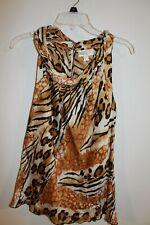 DRESSBARN brown black animal print cowl neck sleeveless top blouse size L