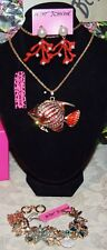 3PC BETSEY JOHNSON RED/CRYSTAL FISH NECKLACE CORAL EARRINGS CHARMS BRACELET NEW