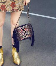 ZARA Tribal Embroidered Clutch Bag Ethnic Sequinned Beaded Handbag With Fringe