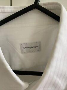 ERMENEGILDO ZEGNA Men's Shirt Size 43/17 White Cotton Stripe Like New