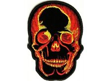 """(F29) FLAMING SKULL 2.75"""" x 4"""" iron on patch (2429) Biker Patch"""