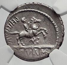 Roman Republic ROME King Aqueduct Horse Statue Ancient Silver Coin NGC i63631