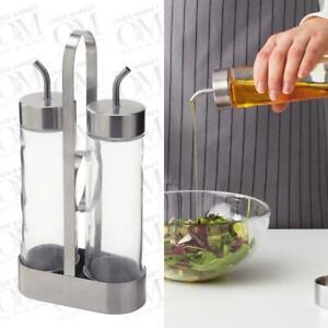 Oil Vinegar Cruet Dispenser Bottles Stainless Steel Glass Kit Kitchen Salad
