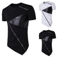 Herren T-Shirt Einfarbig Slim Fit Leder Patchwork Sommer Kurzarm Reißverschluss