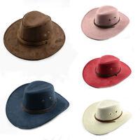 Unisex Bull Rider Winding Rope Jazz Suede Fedora Cowboy Western Hat Sunhat