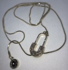 Statement Necklace Sparkly Inspired Lariat Style Crystals Gold Tone Long NEW