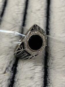 Solid 925 Sterling Silver Men Ring Black Onyx Gemstone