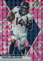 Panini Football NFL Mosaic 2020 Card No. 71 Courtland Sutton Pink Camo Prizm