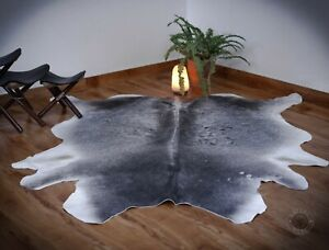 Gray Cowhide Area Rug 5x6ft Tricolor cow skin hide animal print Grey Leather rug