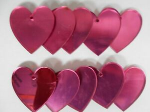 Pink Heart Shaped Acrylic Mirrors 5cm, 3mm thick, x 10, with hole.
