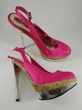 New Look size 5 (38) faux leather pink satin slingback platform stiletto heels