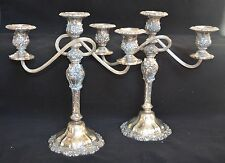 Pair International Silver Countess 3-Light Silverplate Candelabras Candle Holder