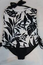 Island Escape One Piece Sz 12 Black White Halter Laced Side Swimsuit RP224150