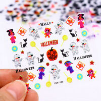 24 Sheets Halloween 3D Nail Art Stickers Adhesive Transfer Decals Decoration UK