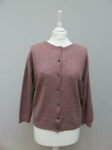 Brora 100% Scottish Cashmere Mauve Textured Knit Crew Neck Cardigan 14
