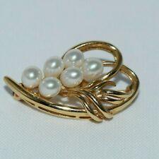 "Brooch ~ 1.25"" long ~ 5.42 grams 14k Yellow Gold Vintage Pearl Grape Cluster"