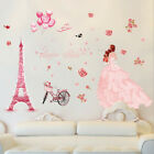 Removable Girl Tower Rose Decal Vinyl Art Mural Wall Sticker Room Home Decor Sy