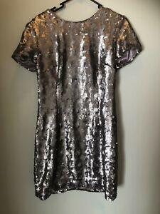 Wayne Cooper silver/mauve sequin shift dress 12