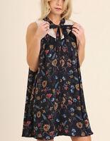 UMGEE floral & lace Dress sleeveless keyhole mini women boho hippie S M L