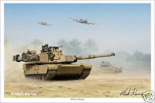 "M1A2 Abrams Tank Mark Karvon Military Art Print - 16"" x 24"""